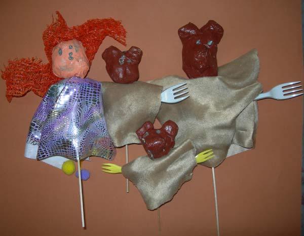 Marionnette de boucle d 39 or et les trois ours - Fabriquer une marionnette articulee ...